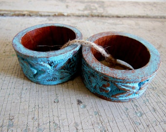 Turquoise Painted Distressed Wooden Napkin Rings Set of 2