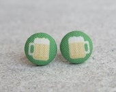 Green Beer Fabric Button Earrings
