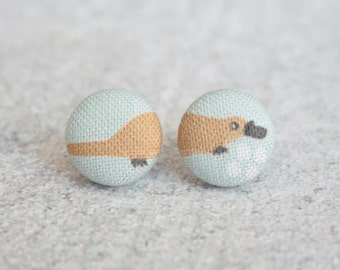 Platypus Fabric Button Earrings