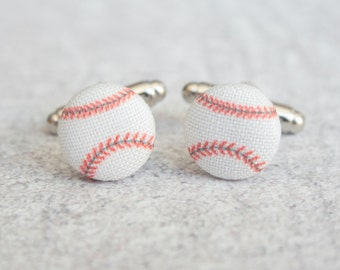 Baseballs, Fabric Covered Button Cufflinks