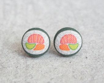 Sushi Roll Fabric Button Earrings