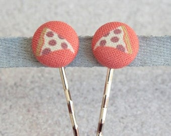 Pizza, Fabric Covered Button Bobby Pin Pair