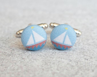 Sailboat, Fabric Covered Button Cufflinks