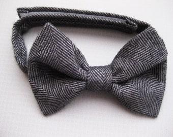 Toddler black bow tie baby bowtie black herringbone bow tie ring bearer adjustable bowtie - Little Man Bow Tie