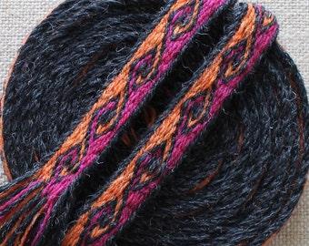 Ram's Horn Tablet Woven Trim, Kivrim Weaving, Tablet Weaving, Card Weaving, Medieval Trim, Tablet Woven Belt, Card Woven Belt, Wool Trim