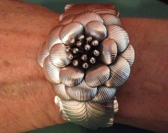 Flower Cuff Bracelet - Sterling Silver