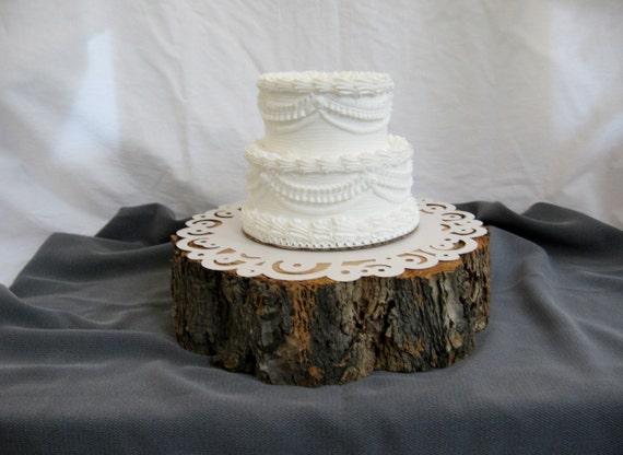 rustic wood tree slice cake stand cake base by. Black Bedroom Furniture Sets. Home Design Ideas