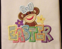 Decorative Easter Sock Monkey Applique Hand Towel