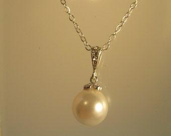 Swarovski Crystal Pearl CZ Necklace, Pearl Necklace, Crystal Necklace, Bride Necklace, Sterling Silver, Bridesmaid Necklace, Wedding Jewelry