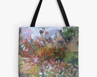 "Summer Gardens Landscape Scenery Tote Bag - Artist's Pastel Painting Design. Two Sizes Available Medium 16"" and Large 18"""