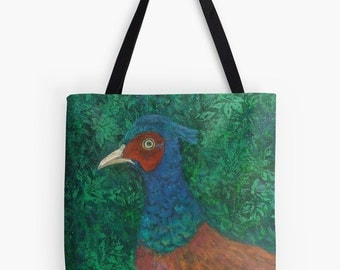 """You're Game Pheasant Tote Bag - Artist's Mixed Media Painting Design. Two Sizes Available Medium 16"""" and Large 18"""""""
