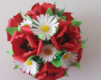 Kusudama with poppies and daisies