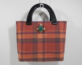 8 x 11 Tartan Plaid Fabric Purse Sachi Style Cabochon Bar Pin Light Weight Hand Bag w/ Black Lucite Handle Autumn Burnt Orange Maroon Colors