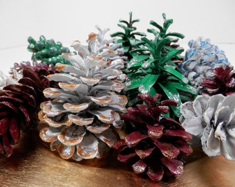 15 Natural Hand Painted Pine Cones Colorful Assortment Glittered DIY Eco Wreath Garland Ornament Making Bowl Vase Filler Display Decoration