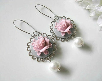 Vintage Pink and Gray Rose Cameo Earrings, Shabby Chic Flower Earrings, Bridesmaid Earrings, Wedding Gift