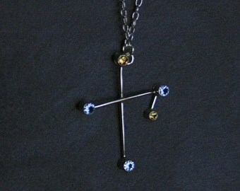 CRUX (The Southern Cross) Constellation Necklace - sterling silver, natural citrine and synthetic blue spinnel - READY to SHIP