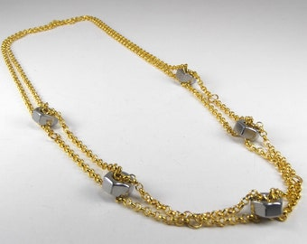 Gold and Stainless Steel Nuts Necklace