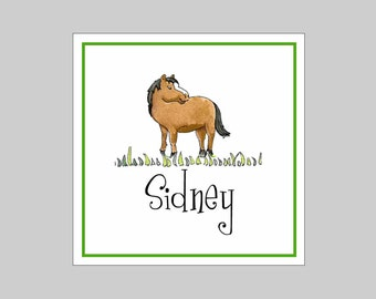 9 Personalized Horse Gift Labels, Stickers, Party Favors