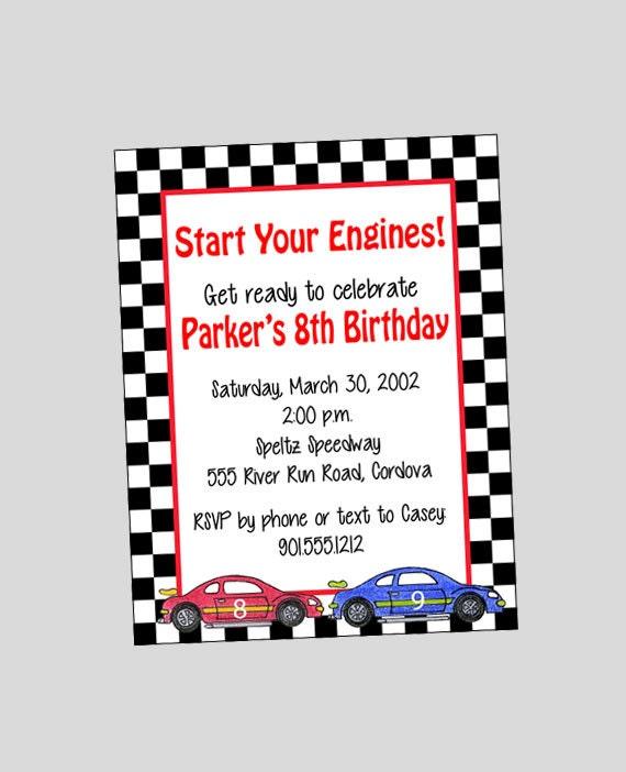 Race Car Invitation Printable ~ Car Birthday Invitation ~ You print or WE CAN!