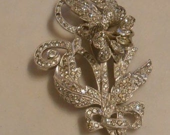 Who Doesn't Like a Little Bling - 1930s Campanula Pave & Rhinestone Large Pin Brooch