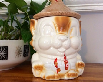 Cookie Jar - Vintage Lucky Cat Ceramic Canister Chinoiserie Asian Cat