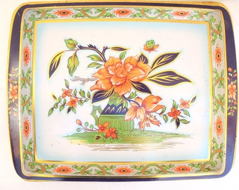 vintage tray.daher.serving.orange.navy.gold.english.coffee.tea.cocktails.appetizers.tessiemay