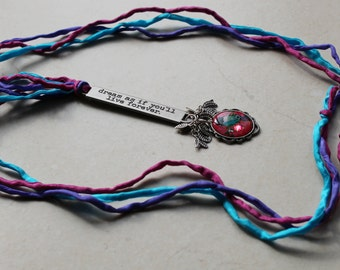 long message necklace, hand dyed silk, dream