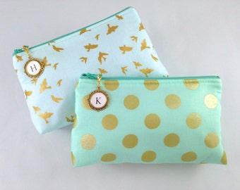 Design Your Own Clutch with Monogrammed Zipper Pull | Cosmetic or Makeup Bag | Mint Green & Metallic Gold | Custom Bridesmaid Gift Set