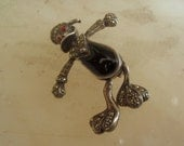 Art Deco Sterliing. Marcasite  & Onyx Movable Daffy Duck Pin