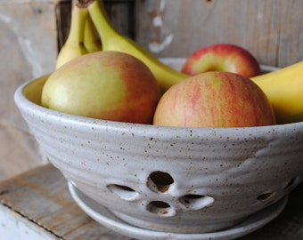 MADE TO ORDER Stoneware Fruit Berry Bowl with Saucer