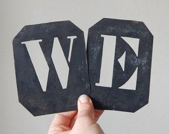 letter stencils french vintage 2 metal stencils