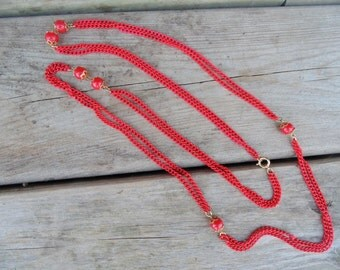 "Red NECKLACE. Enamel Necklace. Chain Necklace. RED Enamel Chain. 1970s Necklace. double strand 44"" w/ beads. Christmas Necklace. Gift Idea."