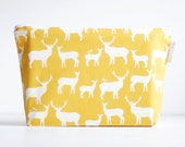 large wet bag. sunshine yellow woodland elk. organic cotton.  by Cloud Love Baby