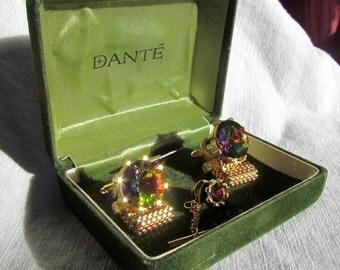 REDUCED Price Vintage Modern Set DANTE Green VOLCANO Gold Tone Wrap Cufflinks + Tie-clasp Original Box