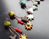 Long dangle earrings, Rustic dangle earrings, Bohemian, Spring, Blue earrings, Olive Green Earrings, Sterling Silver, Leaf, Forest, Mossy,