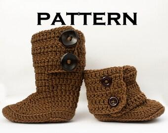 Tall Fold Over Toddler Boot Crochet Pattern - PDF