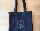 Cat Embroidery Tote bag