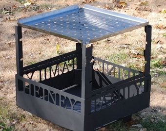 Fire Pit Customized with Name and Includes Removable Fork Stands and Stainless Grill Plate