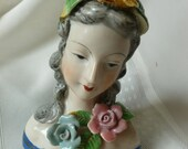 1945 Occupied Japan Porcelain Female Head Floral Marked