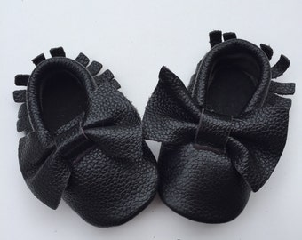 Sale Beautiful Black Moccasins Shoes with Bows-Baby Moccs- Moccs- Girls Shoes with Bows Genuine Leather