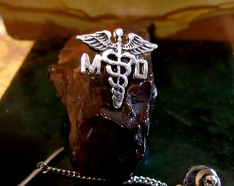 Medical Doctor Caduceus Tie Tack Sterling Silver Free Domestic Shipping