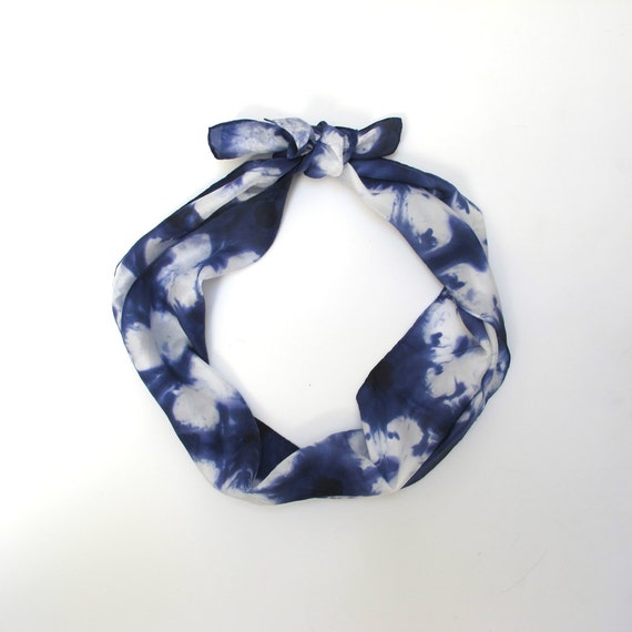 silk scarf navy and white dyed shibori by