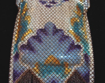 Mandalian 1920s  Painted Metal Mesh Purse Deco Design Perfect Condition  Item #116  Purses