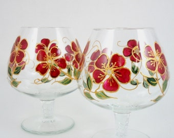 Brandy Snifters Hand Painted Wine Glasses Burgundy Red Gold Flowers Set of 2