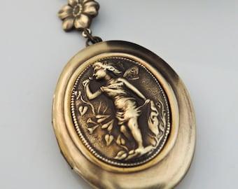 Locket Necklace - Fairy Necklace - Fairy Locket - Fantasy Jewelry - Brass Necklace - handmade jewelry