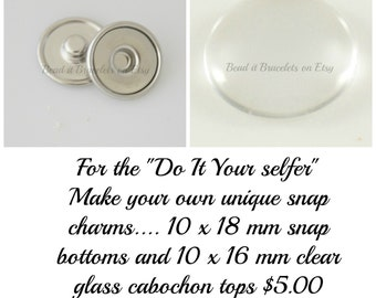 Blank snap charm base and cabochons for your Noosa or Gingersnap style jewelry. 10 x 18 mm snap base and 10 x 16 mm glass cabochons.