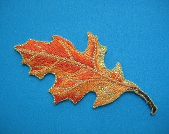 Clearance~ 3 pcs Iron-on embroidered applique Leaf 3.1 inch