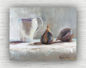 Figs with Tea - Art Print of Painting - Large Wall Art Print on Wood Block