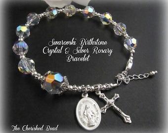 Swarovski Crystal & Sterling Silver Birthstone Rosary Bracelet