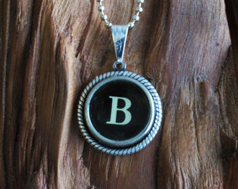 The Letter B Vintage Typewriter Key Pendant Necklace